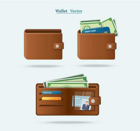 set of brown wallet full of green dollars vector illlustration Illusztráció