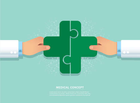Teamwork concept. hand putting the puzzle medical icon together vector illustration