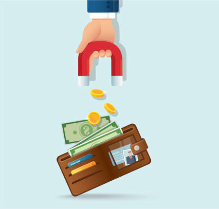 hand holding magnet attracting money from a wallet vector illustration