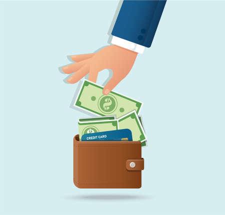 Hand taking out money from wallet vector illustration Ilustración de vector