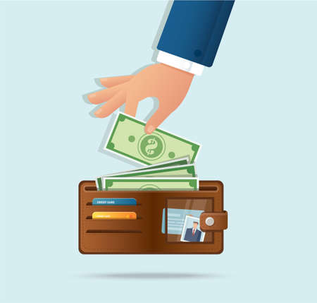 Hand taking out money from wallet vector illustration