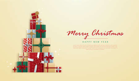 gifts box in Christmas tree shape and space for writing vector illustration