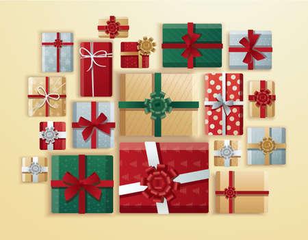 top view of gifts box vector illustration Illusztráció