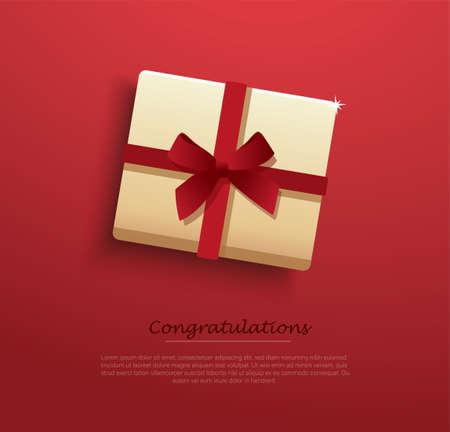 present box decorated with red bow vector illustration Illusztráció