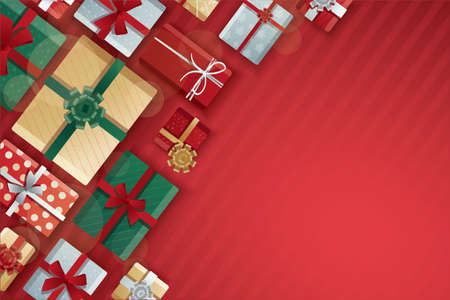 Christmas gift boxes, gift boxes on red background vector illustration 矢量图像