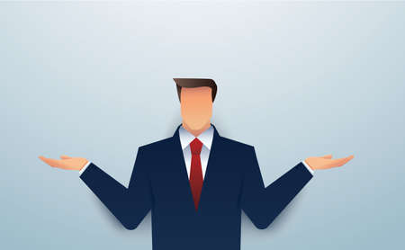 businessman in doubt, man in suit choosing between two different choices. vector illustration