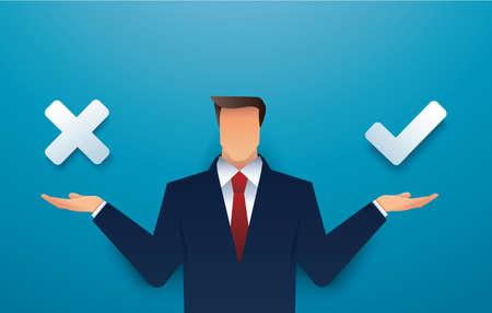 Businessman decision between right and wrong. Making choice. True or false. vector illustration