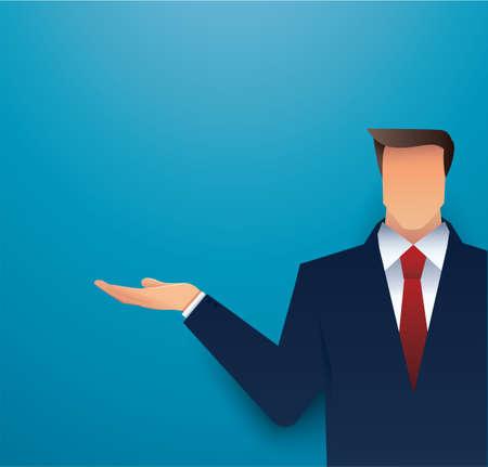 Businessman with hand presentation illustration