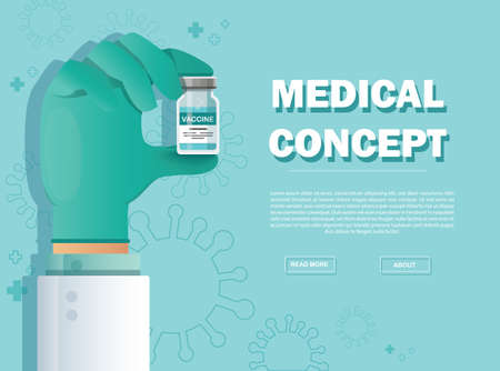hand holding vaccine vial. Vaccination concept. Health care and protection. Vector illustration.