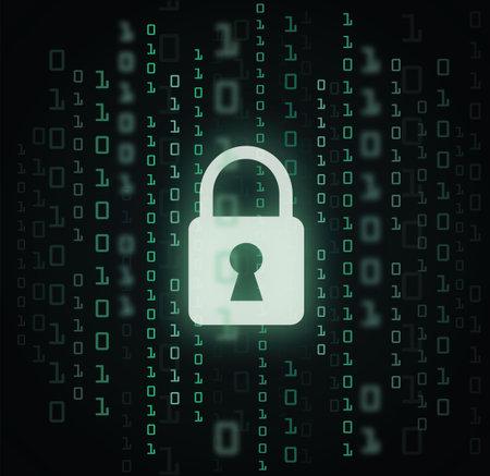 Digital lock guard sign binary code number cyber data background vector illustration 向量圖像