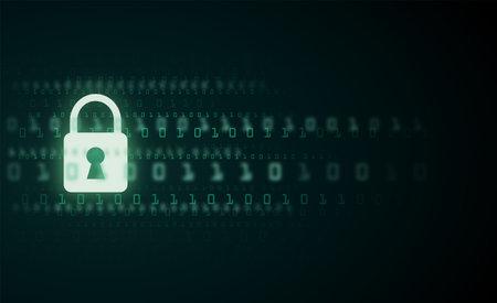 Digital lock guard sign binary code number cyber data background