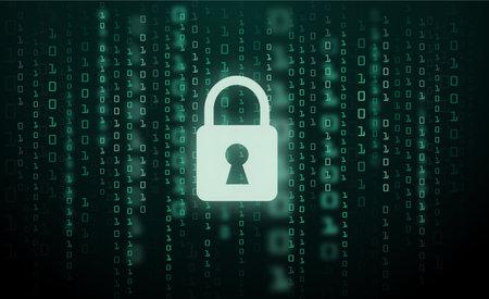 Digital lock guard sign binary code number cyber data background vector 向量圖像