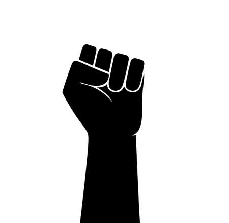 Raised fist vector icon. Human hand up in the air