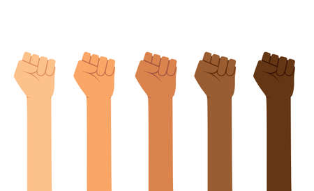 Different skin colors fist hands rise up. Empowering, Labor day, humans right, fight concept 向量圖像