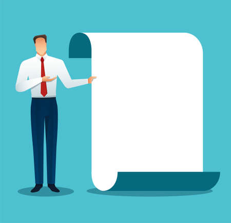 Businessman making a presentation, pointing to the screen. Vector illustration