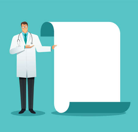 doctor making a presentation, pointing to the screen. Vector illustration