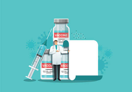 doctor making a presentation, pointing to the screen . vaccination concept. Vector illustration