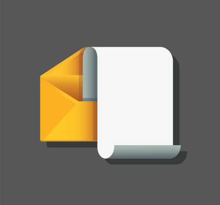envelope with note paper card. mail message concept. Vector illustration