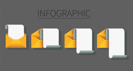 set of envelope with note paper infographic . mail message concept. Vector illustration