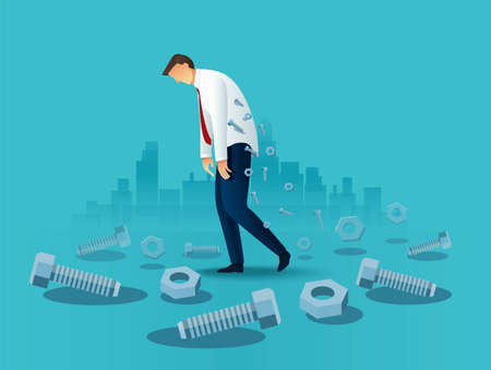 Tired business man office worker with screws. overworked concept Vector Illustration