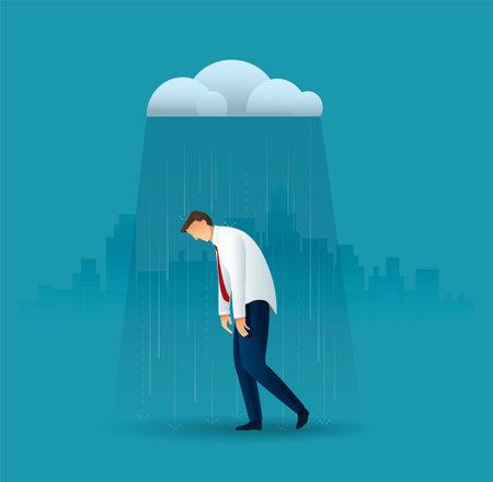 Businessman in the rain. vector illustration 向量圖像