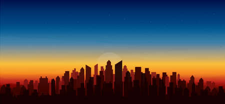 modern city skyline sunset  landscape backgrounds vector illustration