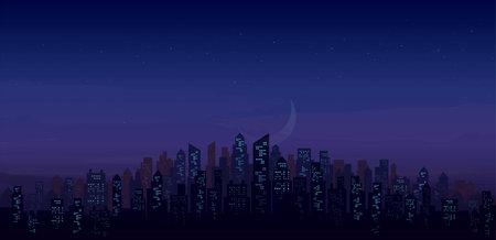 modern night city skyline landscape backgrounds vector illustration EPS10 Иллюстрация