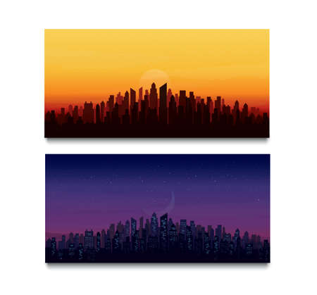 modern city skyline landscape backgrounds vector illustration