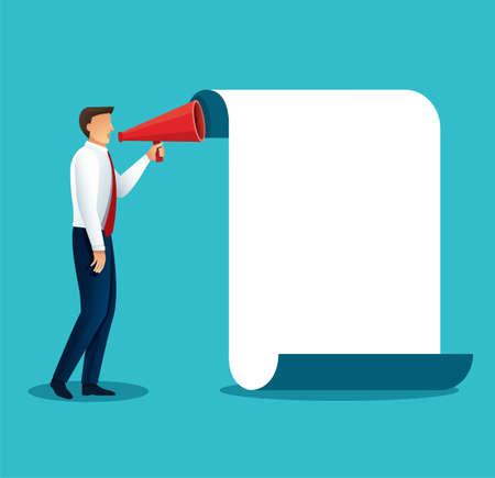 businessman hold megaphone loudspeaker. Concept of marketing or advertisement