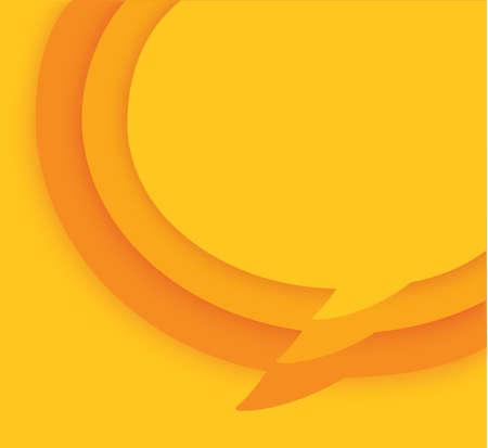 yellow blank speech bubble on yellow background. vector illustration Иллюстрация