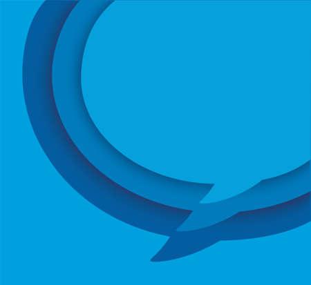 blue blank speech bubble on blue background. vector illustration Иллюстрация