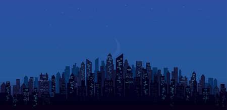 modern night city skyline landscape backgrounds vector illustration Иллюстрация