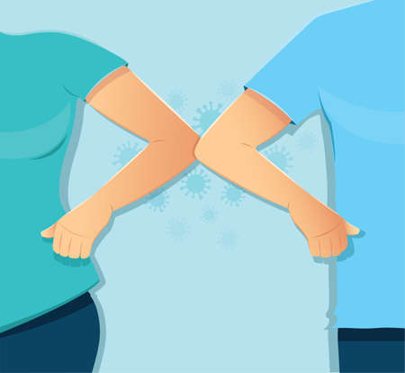 Elbow bump concept. Man and woman hit elbow for greeting. Safe greeting to prevent Covid-19 coronavirus Иллюстрация