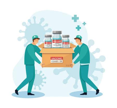 delivery of covid-19 vaccines. Medicine healthcare concept, Vector illustration Vectores