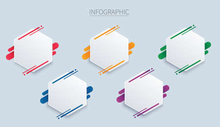 colorful hexagon infographic vector template with 5 options. Can be used for web, diagram, graph, presentation, chart, report, step by step infographics. Abstract background.