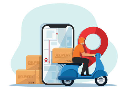 delivery man riding scooter motorcycle Concept of delivery service. vector illustration
