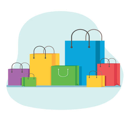Group of color shopping bags isolated on white background. Vector Illustration Vectores