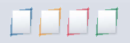 set of modern square isolated color frame template background vector illustration
