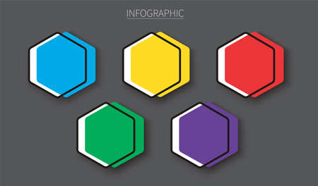 Set of empty hexagon infographic templates