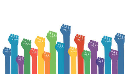 Group of fists raised in air. vector illustration Vectores