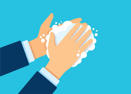 Washing hand with soap vector illustration EPS10