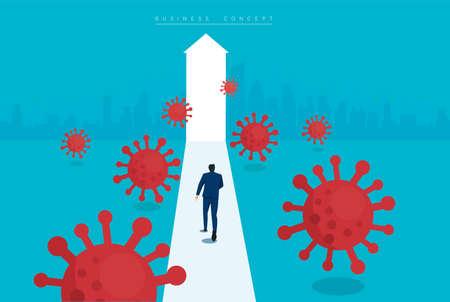 businessman runaway from Coronavirus  (COVID-19) vector illustration.