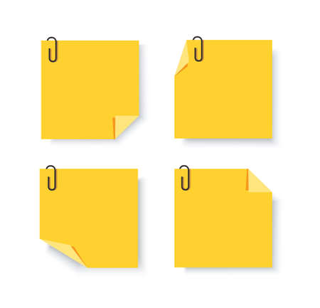 Sticky papers with pin clips memo vector Vectores
