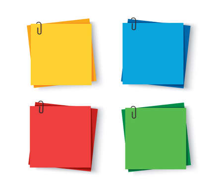 Notes colored. Sticky papers with pin clips memo vector Vectores