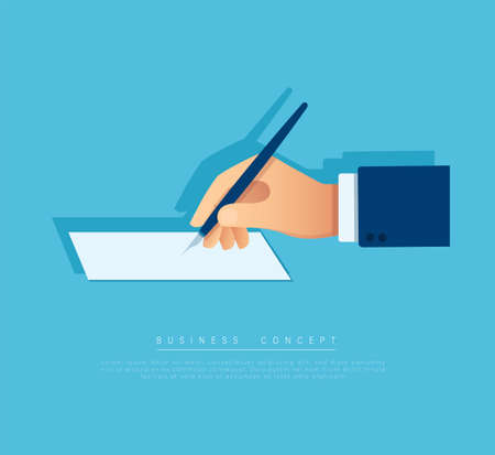 hand with pen writing on the white page. vector illustration Vectores