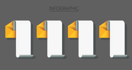 set of envelope with note paper infographic . mail message concept.