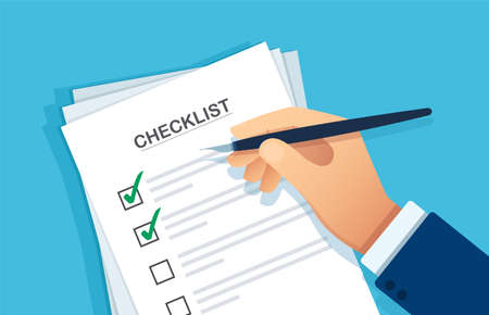 Checklist clipboard. Hand writing something with a pen on a checklist note paper