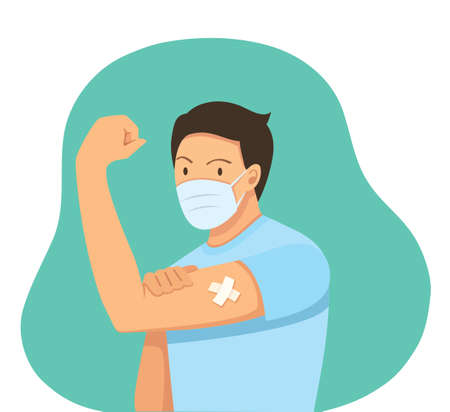 Man Showing Vaccinated. Vaccination concept. vector illustration