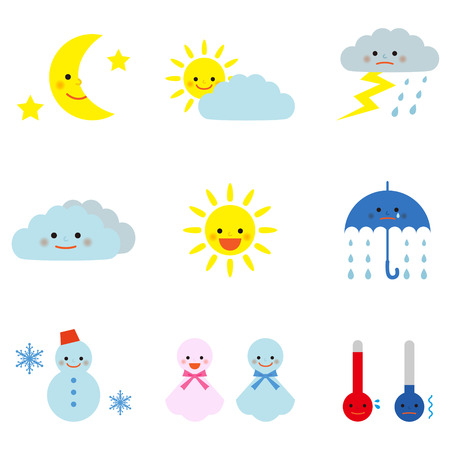 Set of cute weather icons Vector