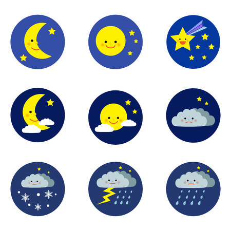 Set of night weather icons Vector